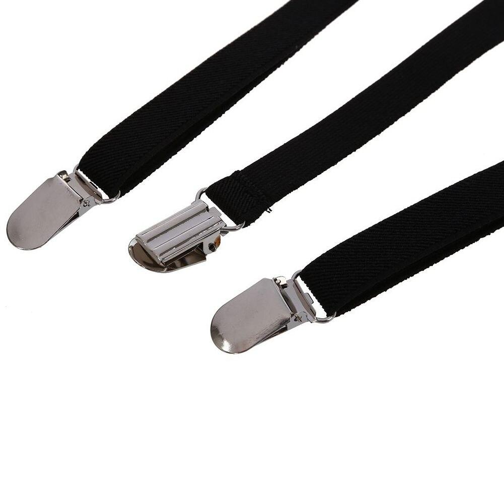 Männer Frauen Clip Elastische Riemen Y-förmigen Solid Riemen 2,5*100 Cm Einstellbare Schwarz Unisex Mit Einem LangjäHrigen Ruf Hosenträger