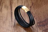 Fashion Lover Paar Armbanden Rvs Armbanden Voor Vrouwen Mannen Sieraden Meerdere Lagen Zwarte PU Leer Armband