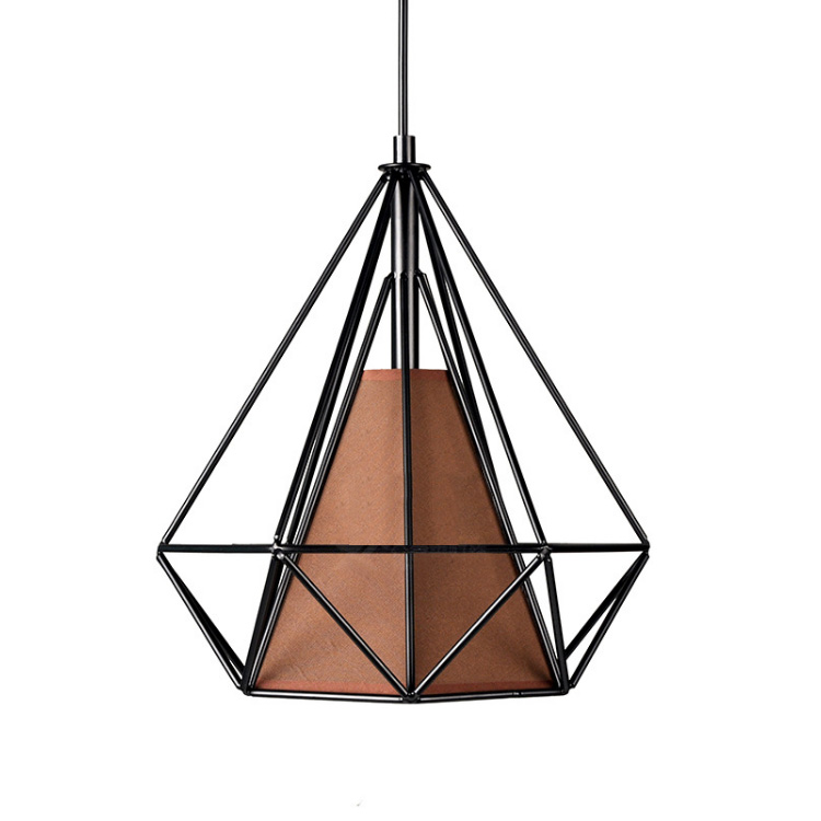 American modern art living room chandelier wrought iron bird cage creative restaurant lamp bedroom lamp study lamp pyramid E27