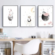 Watercolor Cartoon Girl Canvas Art Painting and Poster , Animal Owl Wall Picture Canvas Art Print Girl's Room Wall Decor(China)