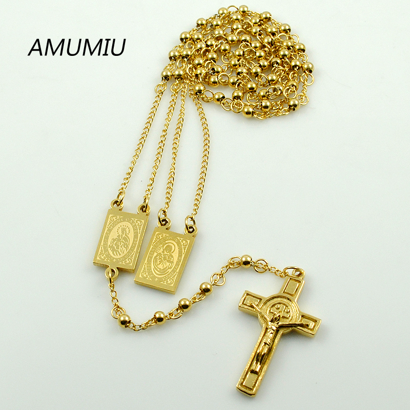 AMUMIU Gold Color Rosary Beads Jesus Piece Cross Religious Stainless - Fashion Jewelry - Photo 1