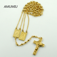 AMUMIU Gold Color Rosary Beads Jesus Piece Cross Religious Stainless Steel Necklace Womens Mens gold chain for men Hot HZN079