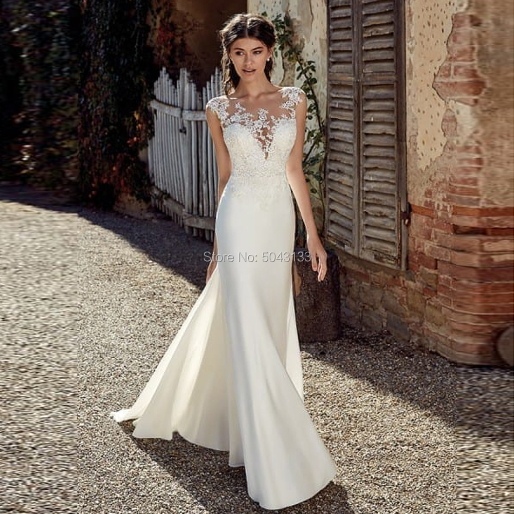 Sexy Mermaid Wedding Dresses 2020 Elegant Satin Lace Appliques Bridal Boho Wedding Gowns Cap Sleeves Sweep Train Vestido Noiva