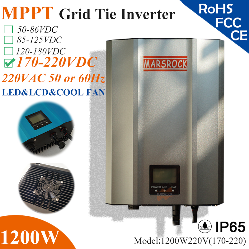 1200W Grid Tie Inverter with IP65 waterproof, MPPT fuction, 170-220VDC, 190-260VAC, 60hz/50hz, LED&LCD display for solar system solar power on grid tie mini 300w inverter with mppt funciton dc 10 8 30v input to ac output no extra shipping fee