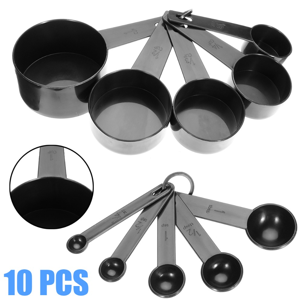 New 10pcs Plastic Measuring Cups And Spoons Scoop Set Coffee Baking Cooking Kitchen Measuring Tool With Black Color