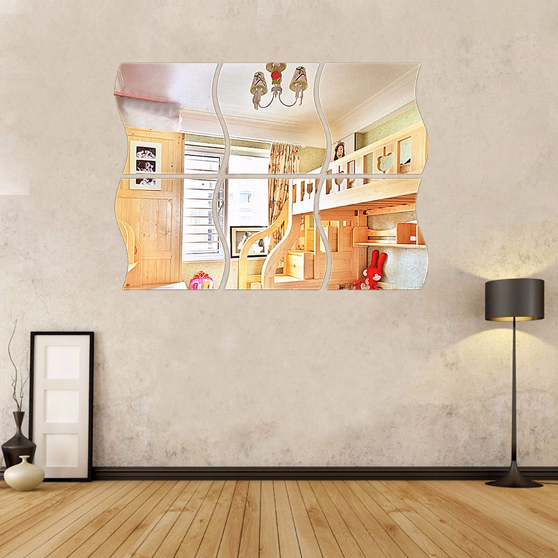 6Pcs 6Pcs/Pack DIY Wall Sticker Decor Removable Acrylic Decorative Mirror Wall Stickers Room Decoration Bathroom Home Decor