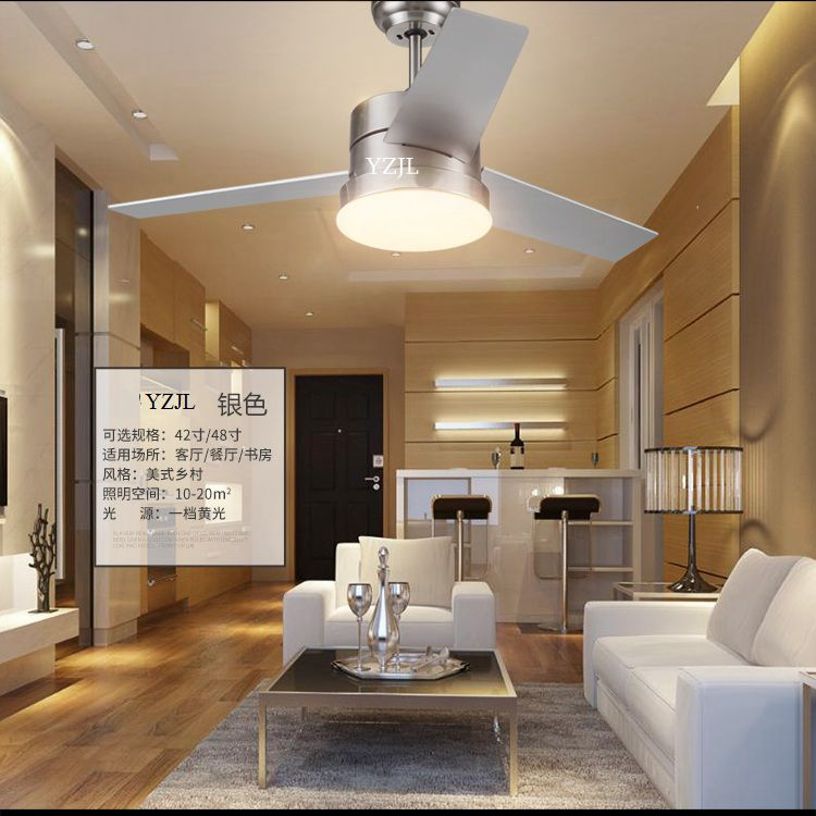 Retro living room dining room bedroom fan chandelier fan lights remote control led American village fan chandeliers