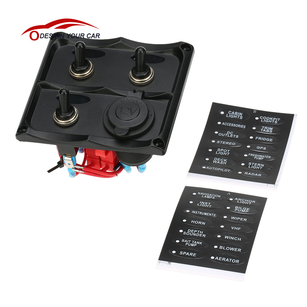 online get cheap boat fuse panel aliexpress com alibaba group on off 3 gang toggle switch panel cigarette lighter socket fuse led indicators