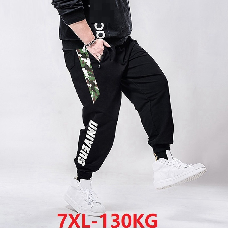 6XL 7XL Summer Men Sports Sweatpants Camouflage Plus Size Big 8XL Spring Man Casual Loose Letter Pants Stretch High Waist Pants