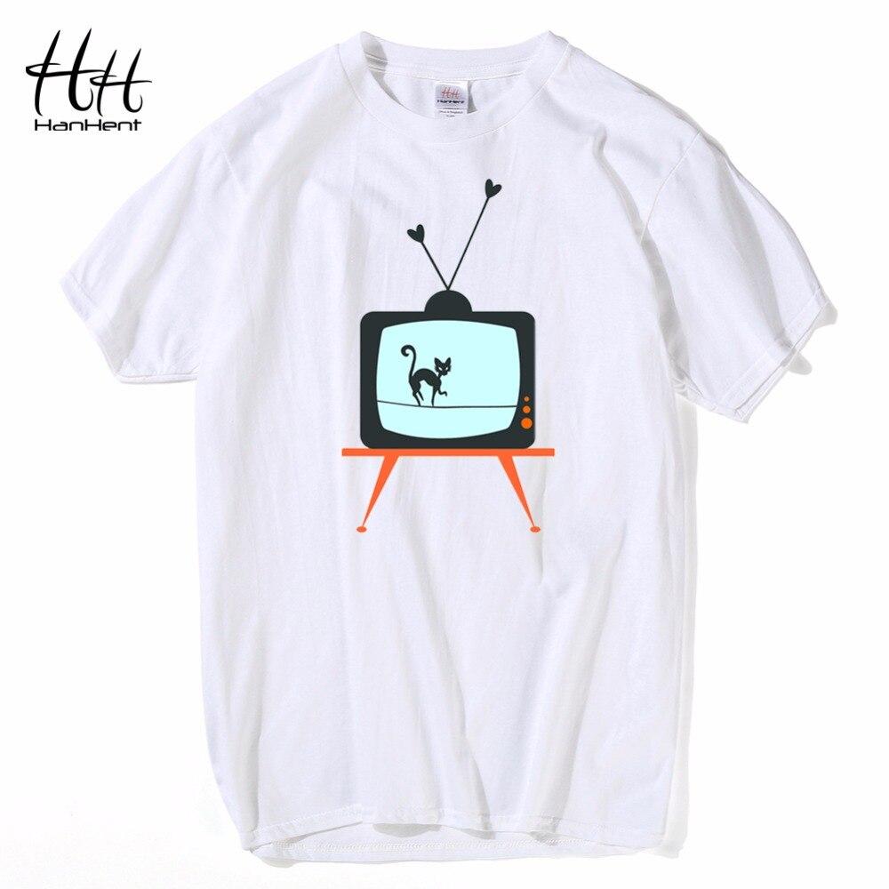 Hanhent blanc coton t shirt hommes creative design vieux TV chat impression t-shirt drôle animal 3d occasionnels t-shirt hip hop streetwear