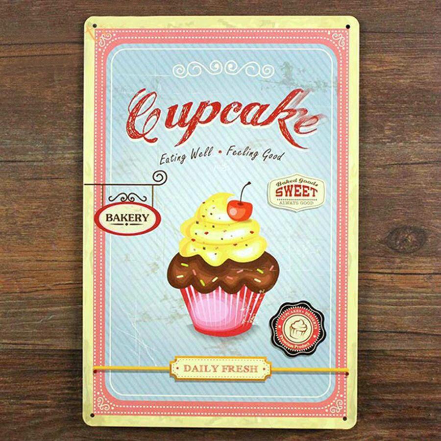 Sweet Cupcake Tin Signs Vintage Wall Cake Store Decor