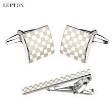 Leton классические квадратные Серебристые лазерные запонки в