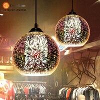 Modern 3D Plated Colorful Lamplight Glass Pendant Lamp Foyer Mall Lamp DIA 15 20 30 35
