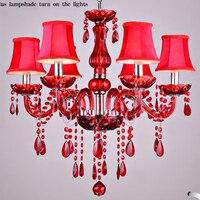 Канделябр красный хрусталь абажур lamparas de хрустальная люстра de teto светильник люстры для обеденные лампы