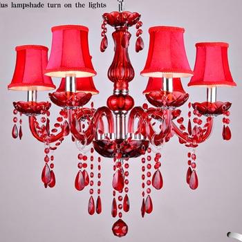 Candelabro de cristal rojo lamparas de cristal lustres de teto luminarias candelabros para comedor