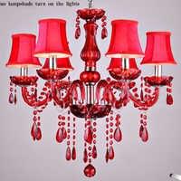 Lustre en cristal rouge abat-jour lampe de cristal lustres de teto luminaire lustres pour salle à manger lumières