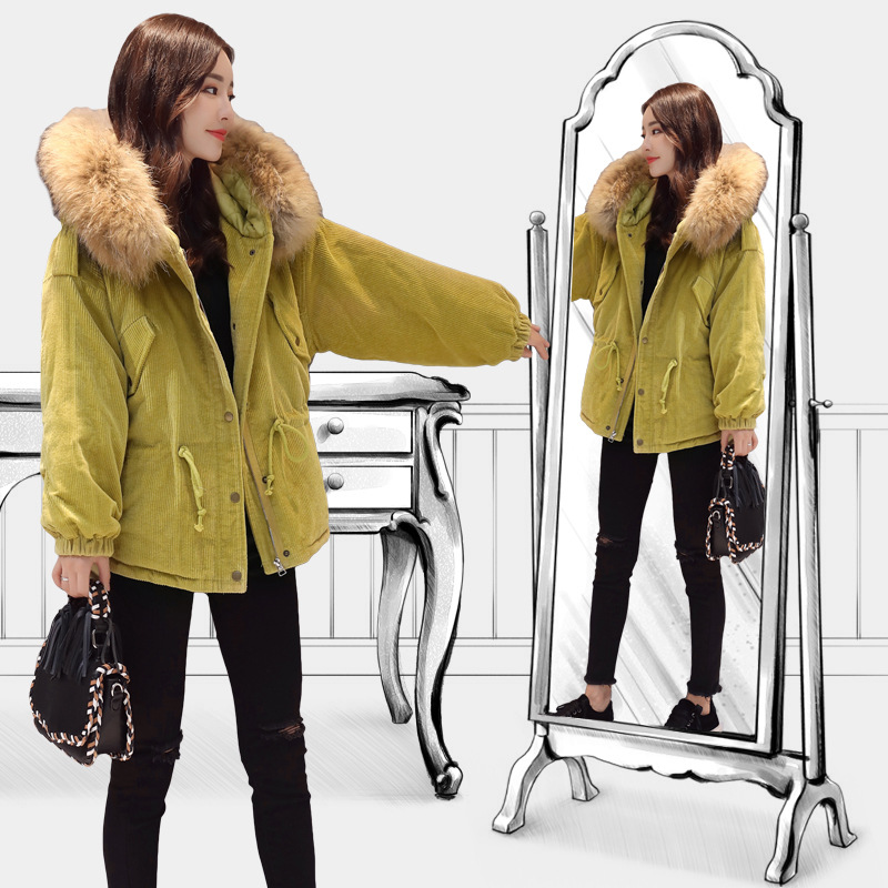 Women Winter Clothing Autumn Parkas Womens Long Thin Jacket Fur Hat Warm Cotton Coats