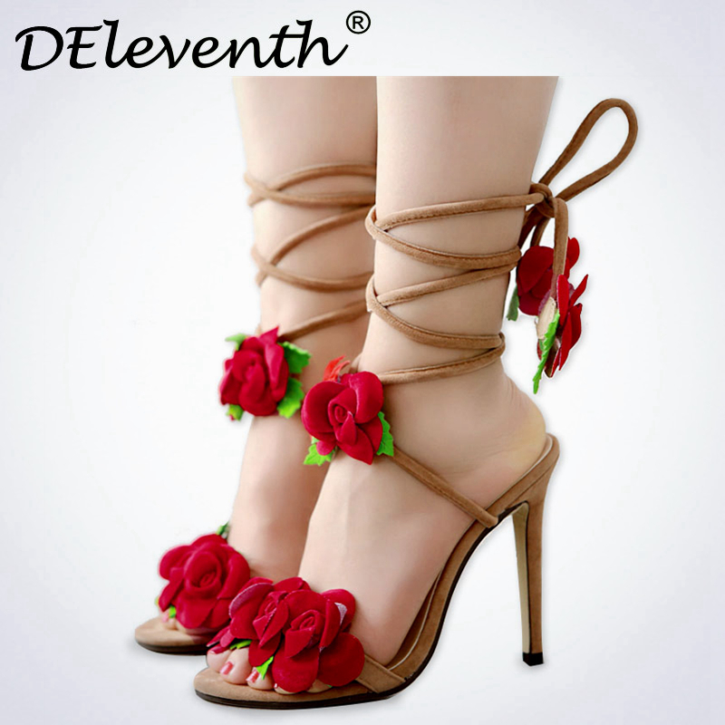 531f7ded7e0 DEleventh Fashion Women Flower Shoes Open Toe Stiletto High Heels Party  Shoes Sandals Cross-tied Floral Shoes Woman Big Size 42