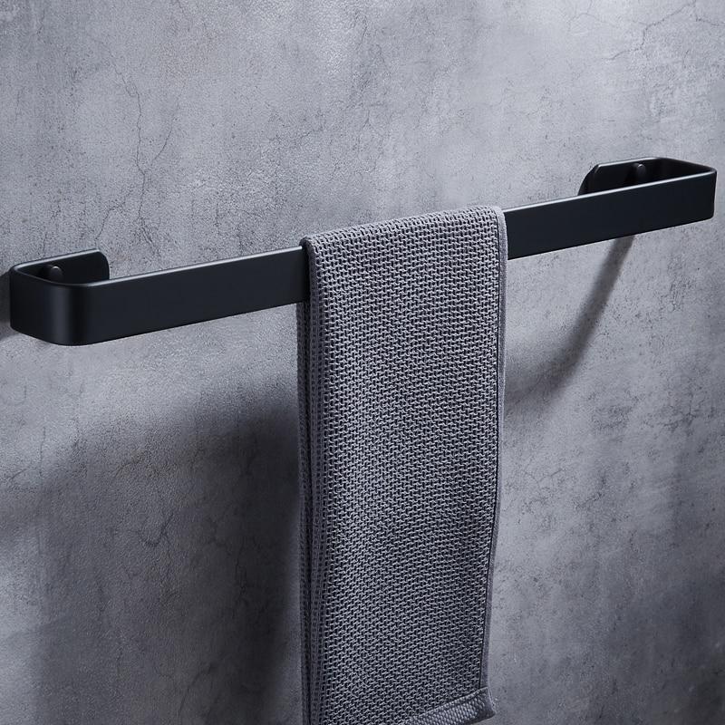 Towel Bar Holder Black Aluminum Wall Mounted Bathroom Towel Rack Hanging Holder Decorative Towel Holder Bathroom Accessories