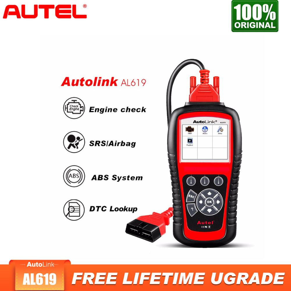 Autel Diagnostic Auto Code Reader AutoLink AL619 OBD2 Check Engine Light ABS SRS
