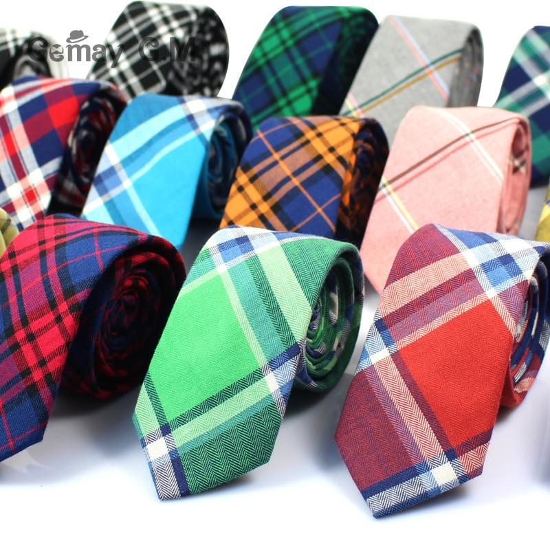 Brand Ties for Men 100% Cotton Mens Necktie Causal Narrow Plaid Tie For Man Bussines Corbatas Bridegroom Party Slim Neckties