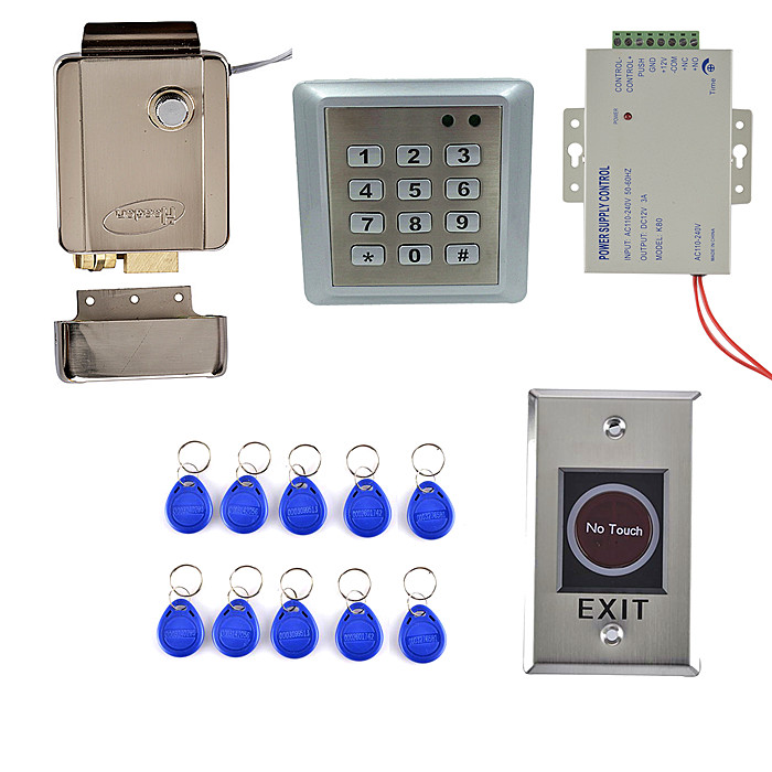 8618 100% Waterproof Metal Case  Access Control  System + 10 RFID Tag Card+Metal No Touch Door Switch Button metal rfid em card reader ip68 waterproof metal standalone door lock access control system with keypad 2000 card users capacity