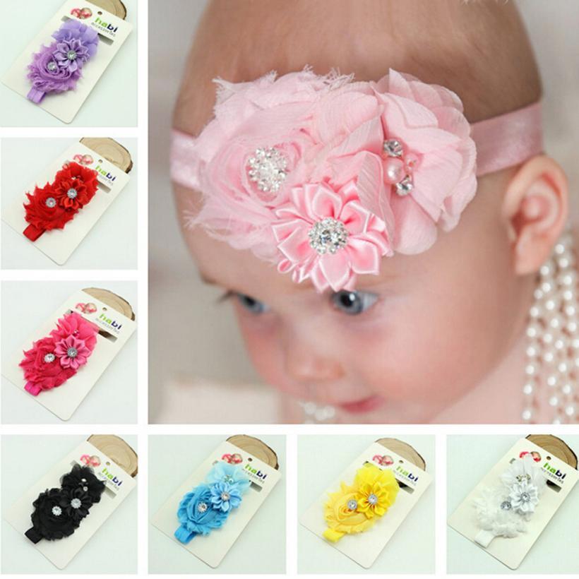 Hot born soft material Baby's Headbands Handmade Pearl-chiffon flowers for headbands 1 piece accessory para cabelo #