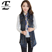 Elegdream 2016 Spring Summer Women New Fashion Vintage Sleeveless Denim Vest Female Jeans Jacket Slim Long