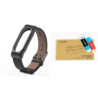Adjustable Xiaomi Mi Band 2 Leather Strap With Metal Frame For Xiao Mi Band Accessories MiBand