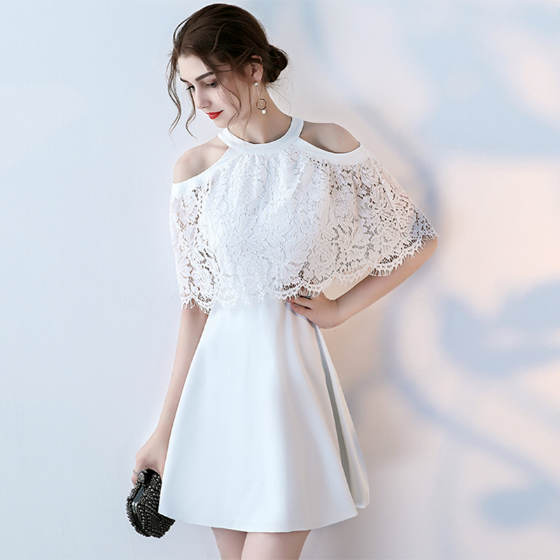 White Halter Coctail Dress Short A Line Vestido Soiree Semi Formal Prom Pretty Dress Gown 2019 Dress Cocktail TS1157(China)