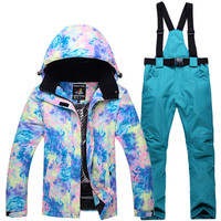 Novelty 2018 ski suit for women winter warm waterproof windproof breathable outdoor ski snowboard jacket and pants kit