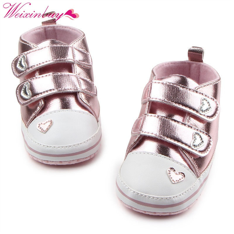 Spring Shoes Newborn Baby Girls Classic Heart-shaped PU Leather Tennis Lace-Up Autumn First Walkers 13