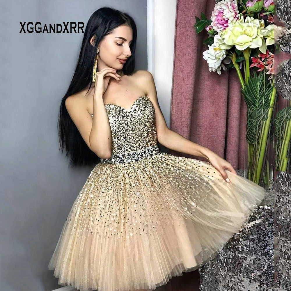 Luxury Short Homecoming Dress 2019 Beading Sequins Tulle Skirt Crystal Belt Sweetheart Off Shoulder Backless Girls