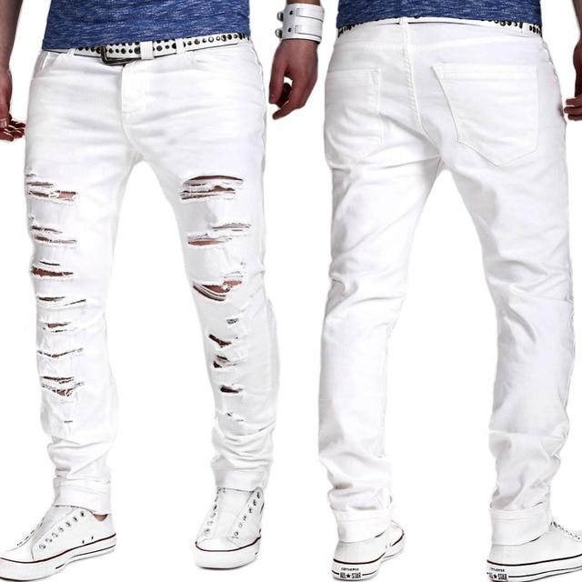 ripped denim witte jeans nieuwe mannen biker verontruste jeans heren