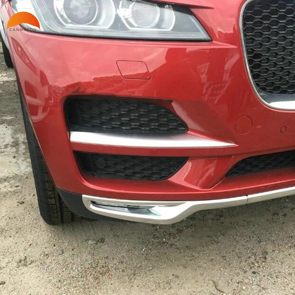 For Jaguar F-Pace 2016 2017 2018 ABS Chrome Front Side Lower Grille Cover Trim Molding Car Accessories Foglamp Eyebrow Sticker