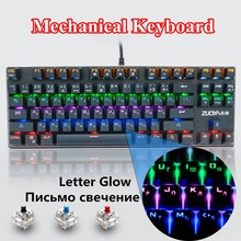 все цены на ZUOYA Gaming Mechanical Keyboard Anti-Ghosting Blue Switch RGB/Mix lights Backlight Keyboards USB Wired Russian/US for Gamer PC онлайн