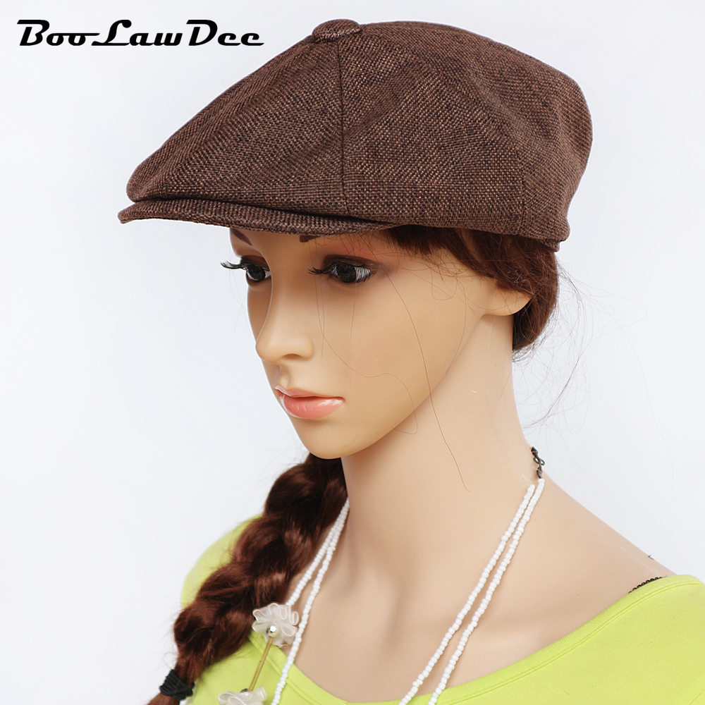426d6656e BooLawDee Spring and Summer thin linen newsboy cap gatsbie hat breathable  for men and women 56cm