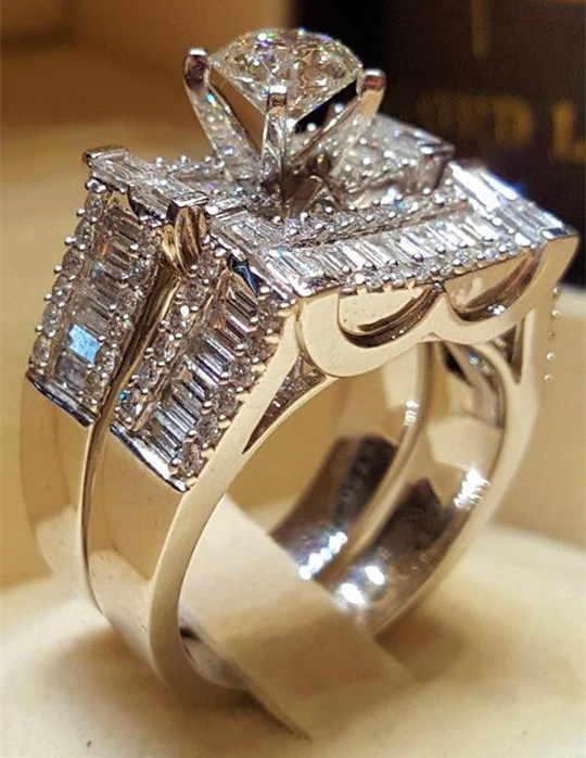 2019 ใหม่แฟชั่นผู้หญิงคริสตัล Zircon แหวนหินชุดน่ารัก 925 เงินงานแต่งงานแหวนหรูหรารักหมั้นแหวนผู้หญิง