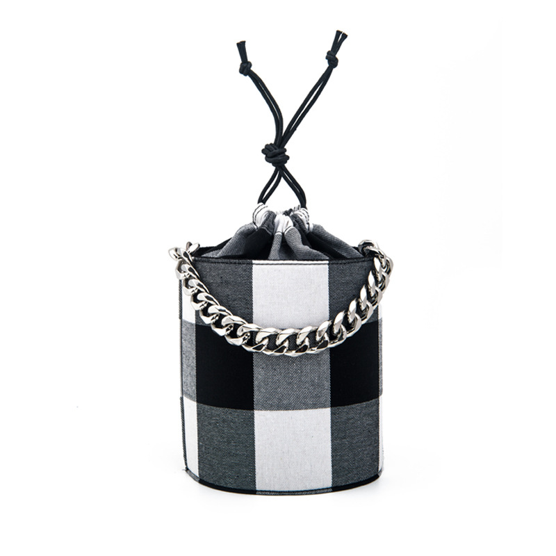 Bags Cylindrical Bucket Bag Chain Handbag Classic Plaid Drawstring Shoulder Bag Canvas Retro Handbags