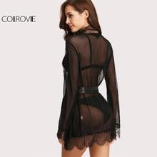 COLROVIE Self Tie Lace & Mesh Robe