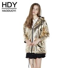 Moderní dámská lehká bunda na zip zlaté barvy