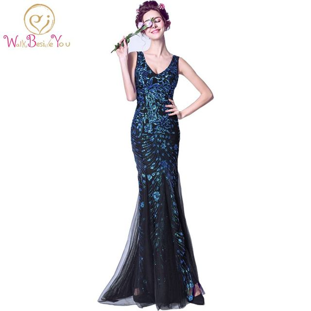 Dark Blue Long Evening Gowns Sequined Bling Trumpet Prom Dresses Deep V  neck Mermaid Formal Gowns 2017 Open Sexy Girl Photo 73738a60ac4c
