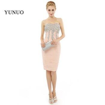 2019 New Arrival Arabic Vestidos de festa Sleeveless Sweetheart Sexy Evening Dresses Short Shinning Crystal Women Dresses d261