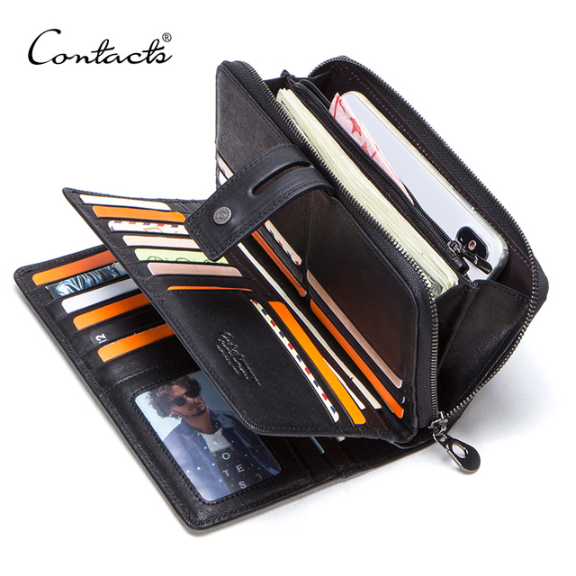 CONTACT'S genuine leather men long wallet with card holders male clutch zipper coin purse for cell phone business luxury wallets