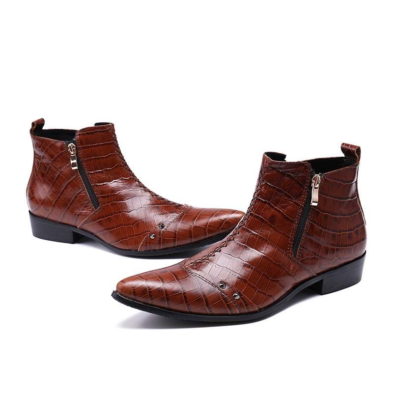 Photo Marrom Sapatos Homens Luxo Show De Boot As 38 Top Padrão Photo Moda Charme Errfc Python Rebites as Curto Ankle High 46 Man Serpente Couro BwXAWqq5F