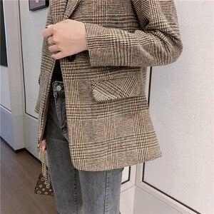 Image 5 - Automne femmes laine manteau femme Version coréenne 2019 nouveau hiver Plaid Blazer mode haute qualité femme laine manteaux