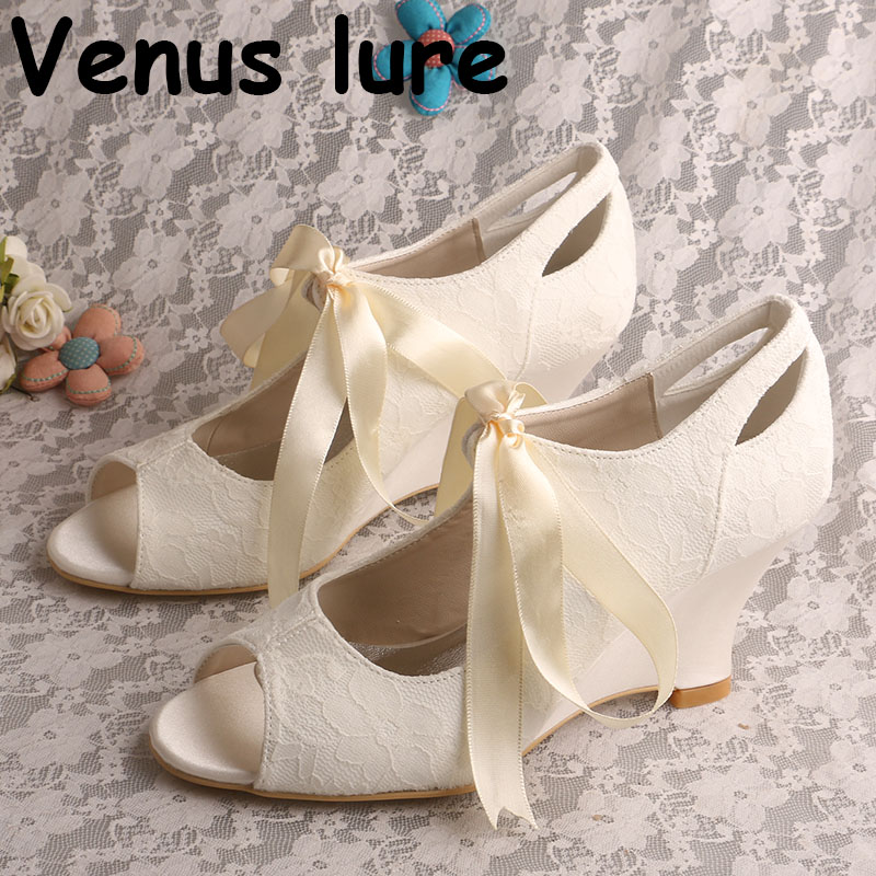 Lace up High Heels Shoes Wedge Shoes