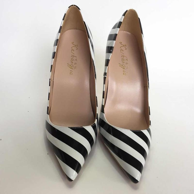 2018 nowa zebra kolor damskie buty na wysokim obcasie buty OL proste dzikie damskie buty na wysokim obcasie pompy mieszane kolor buty płytkie moda damskie buty w Buty damskie na słupku od Buty na  Grupa 1