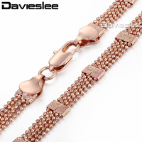 8mm 18K Rose Gold Filled Multi Strands Bead Beaded Necklace Chain Elegant Womens Fashion Jewelry GN185