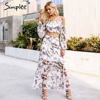 Simplee Cold shoulder strap summer dress 2018 Backless floral print two piece long dress women Frill ruffle sleeve casual dress
